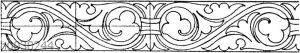 Blattbänder und Rankenbänder: Mittelalterliche Wandmalerei aus einer schwedischen Kirche.