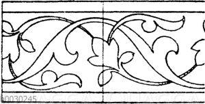 Blattbänder und Rankenbänder: Bordüren von persischen Metallgefäßen. (Racinet)