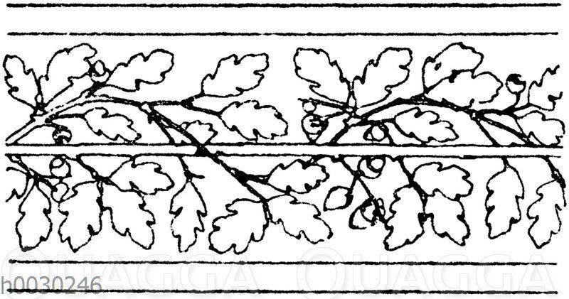 Blattbänder und Rankenbänder: Eichenbordüre. Parkettbodenfriese von Tasson und Washer in Brüssel. (Gewerbehalle).