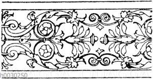 Blattbänder und Rankenbänder: Bordüre plastisch verzierter Halbsäulen aus Sta. Trinità in Florenz. (Ital. Renaissance)