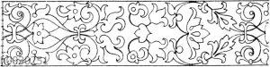 Blattbänder und Rankenbänder: Intarsiafries vom Chorgestühl in San Domenico in Bologna. Ital. Renaissance.