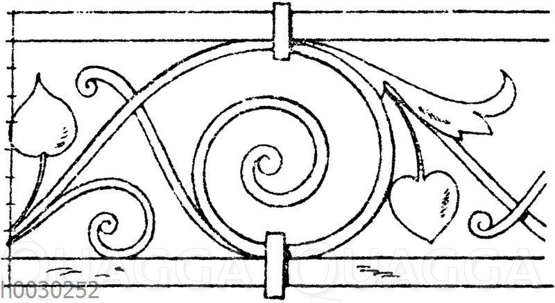 Blattbänder und Rankenbänder: Von einem schmiedeeisernen Balkongitter aus Mailand. (Gewerbehalle)