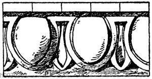 Campana-Eierstab (an einer Menge grako-italischer Terrakotten der Campanasammlung vorbanden).