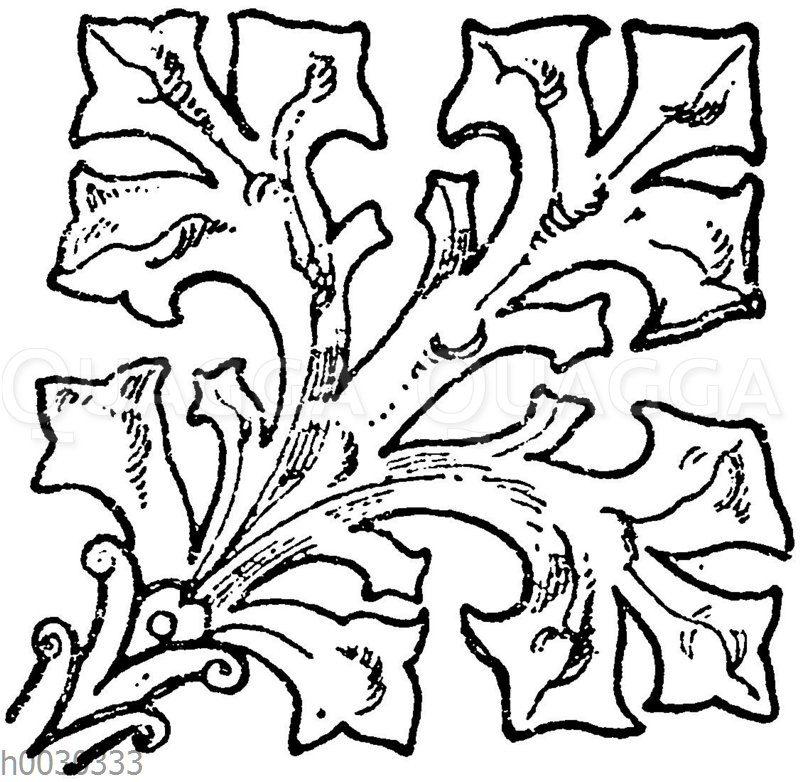 Ende vom Bronzebeschlag eines Betpultes in Gelnhausen.15. Jahrhundert. (Musterornamente)