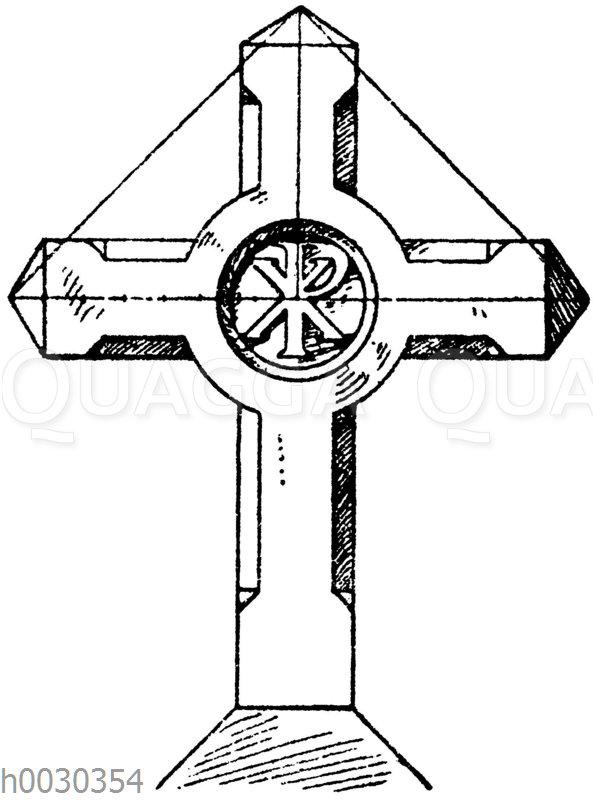 Kreuz in Stein: Französisches Friedhoßkreuz mit dem Monogramm Christi. In Genouilleux. Architekt Bailly