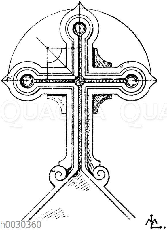 Kreuz in Stein: Grabkreuz vom Kirchhof St. Lazare in Montpellier. Architekt Glaire. (Raguenet)