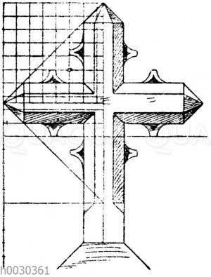 Kreuz in Stein: Gotisierendes Grabkreuz