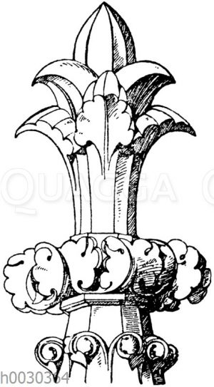 Kreuzblume: Frühgotische Kreuzblume vom südlichen Turm der Kathedrale in Chartres. 13. Jahrhundert. (Musterornamente)