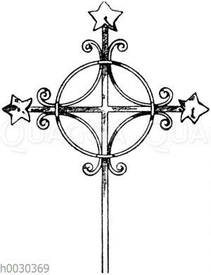Kreuz in Schmiedeisen: Mittelalterliches Turmkreuz aus Franken. (Gewerbehalle)