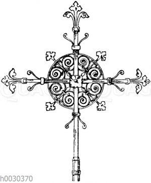 Kreuz in Schmiedeisen: Turmkreuz von der Kirche St. Ambroise in Paris. Architekt Ballu. (Raguennet)
