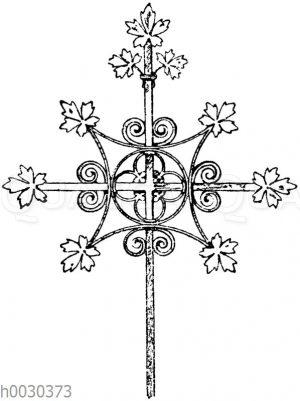 Kreuz in Schmiedeisen: Kreuz in Schmiedeisen: Mittelalterliches Turmkreuz aus Franken. (Gewerbehalle)