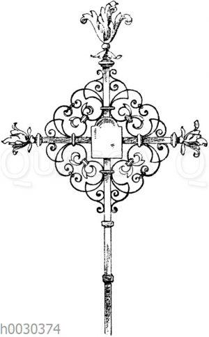 Schmiedeisernes Grabkreuz vom Kirchhof in Thiengen. 18. Jahrhundert.