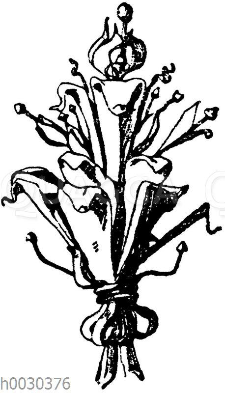 Blumen in Schmiedeisen: Endigungen von einem Wandarm aus Brügge 17. Jahrhundert