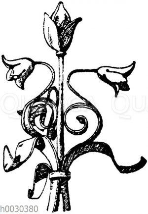 Blumen in Schmiedeisen: Krönung eines Brunnens im Museum Cluny in Paris. 15. Jahrhundert. (L'art pour tous)