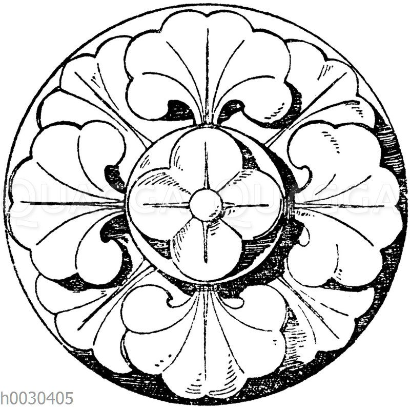Vierteilige romanische Schlusssteinrosette aus dem Kapitelsaale des Klosters Heiligenkreuz bei Wien. 13. Jahrhundert. (Musterornamente)