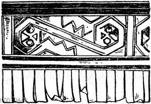 Franse aus dem Mumiengrab der Incas aus Ancon in Peru. Vereinigte Sammlungen in Karlsruhe.