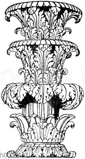 Partie vom Schaft eines römischen Prunkkandelabers in Marmor. Vatikanisches Museum in Rom.