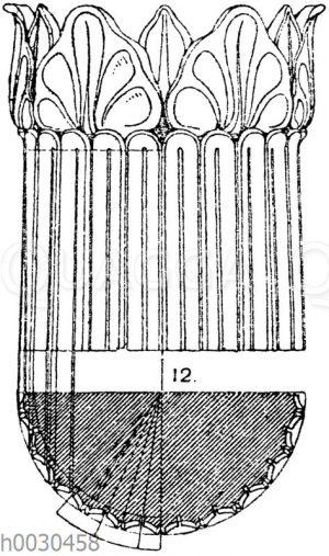 Kannelierungen: Partie eines antiken Kandelaberschaftes mit Kannelurenverjüngung.