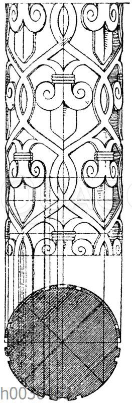 Motiv einer Säulenverzierung aus der Kirche zu Tournus. (Raguenet)
