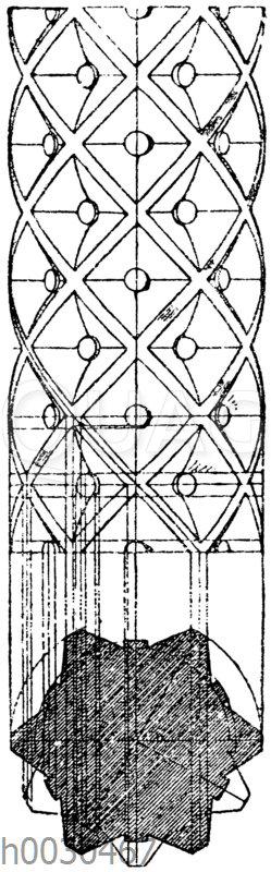 Romanische Säulenschaftverzierung.