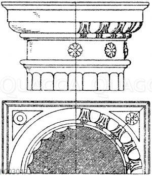 Dorisches Säulenkapitell. Italienische Renaissance.Nach Barozzi da Vignola.