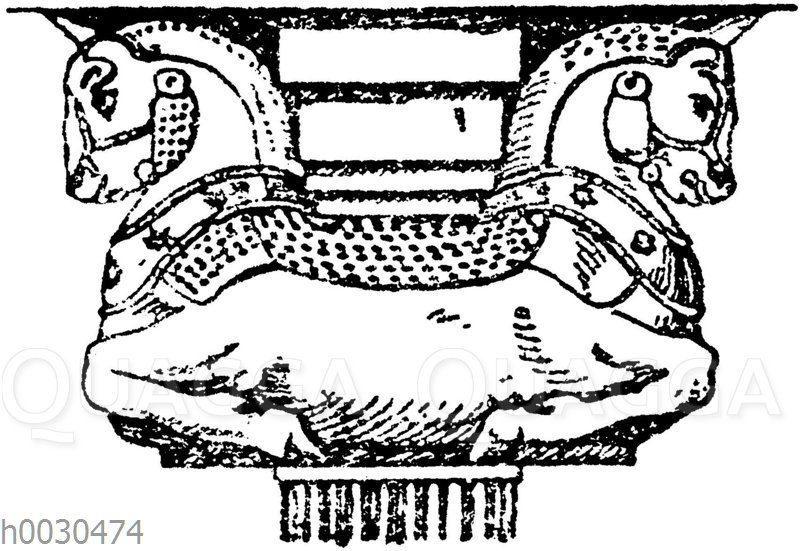 Altpersisches Sattelkapitell aus Persepolis.