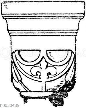 Romanisches Würfelkapitell aus der Klosterkirche zu Lippoldsberg.