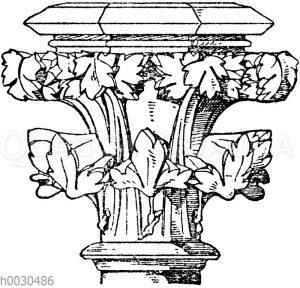 Spätgotisches Säulenkapitell von der Chorterrasse des Münsters in Freiburg i. B.