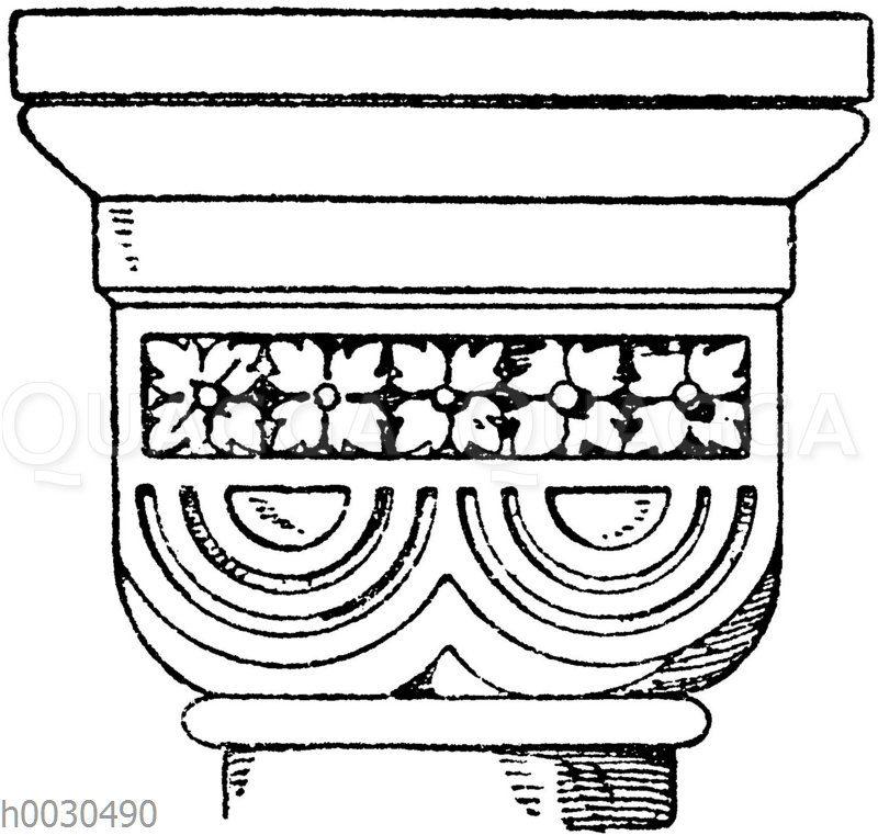 Roman. Doppelwürfelkapitell. Kirche zu Rosheim. 11. Jahrhundert