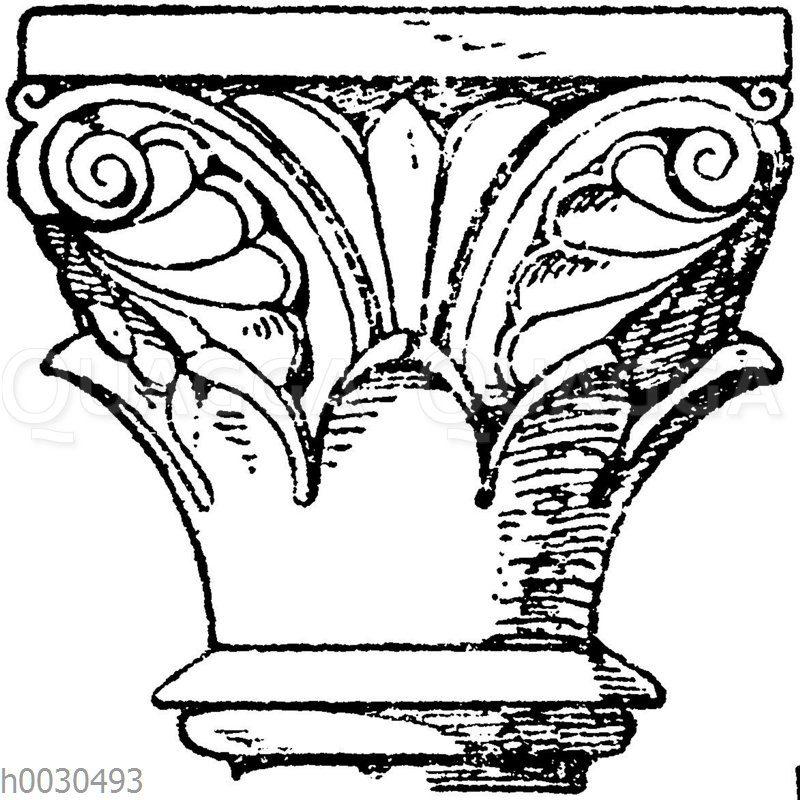 Romanisches Kapitell vom ehemaligen Klostergang der Kirche in Schwarzach.
