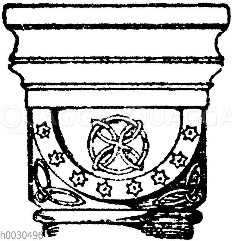 Romanisches Würfelkapitell aus der Abteikirche Maria Laach