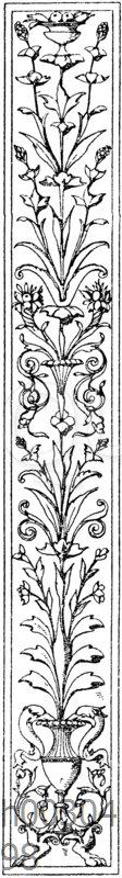 Pilasterschaft: Pilasterornament. Ital. Renaissance.