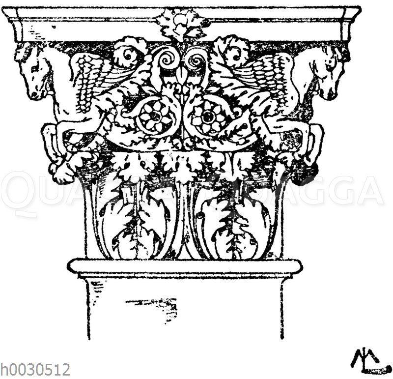 Römisch-korinthisches Pilasterkapitell vom Tempel des Mars Ultor in Rom. (De Vico)