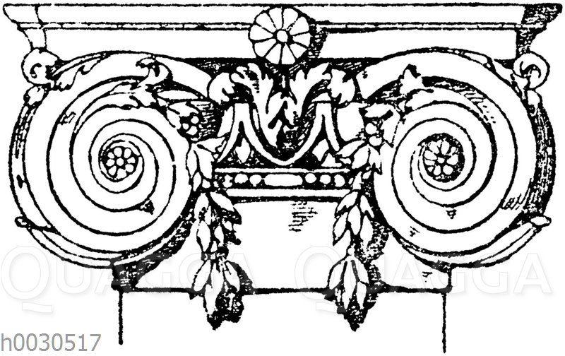 Pilasterkapitell: Ionisches Pilasterkapitell. Französische Renaissance. (Lièvre)