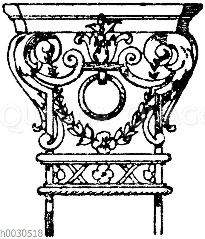 Pilasterkapitell: Schmiedeisernes Kapitell nach Jean Berain. Französisch. 17. Jahrhundert. (Raguenet)