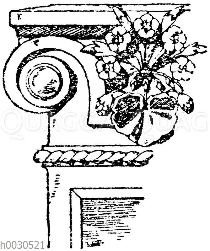 Pilasterkapitell: Ionisches Pilasterkapitell aus der Rue Dieu in Paris. Architekt Sedille. 19. Jahrhundert.