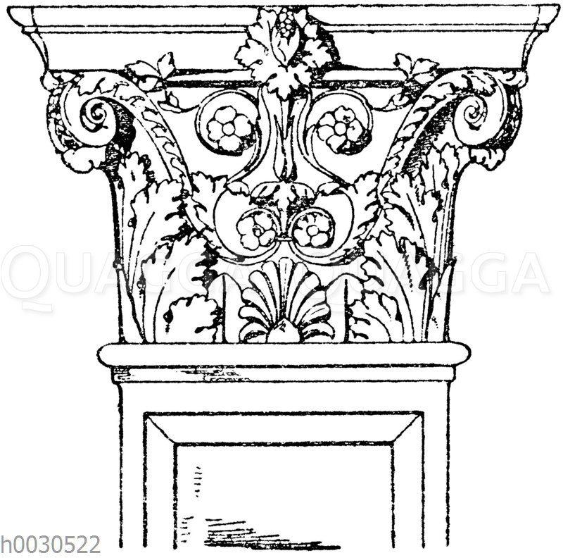 Pilasterkapitell: Korinthisches Pilasterkapitell. Ital. Renaissance. Portal von San Michele in Venedig.