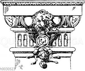 Pilasterkapitell: Dorisches Pilasterkapitell vom Hause Spinn & Mencke in Berlin. Architekten Kayser & v. Großheim. 19. Jahrhundert.
