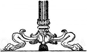 Kandelaberfuß: Fuß antiker Bronzekandelaber im Museum zu Neapel.