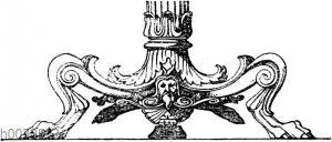 Kandelaberfuß: Fuß eines antiken Bronzekandelabers. Irn Museum zu Neapel.