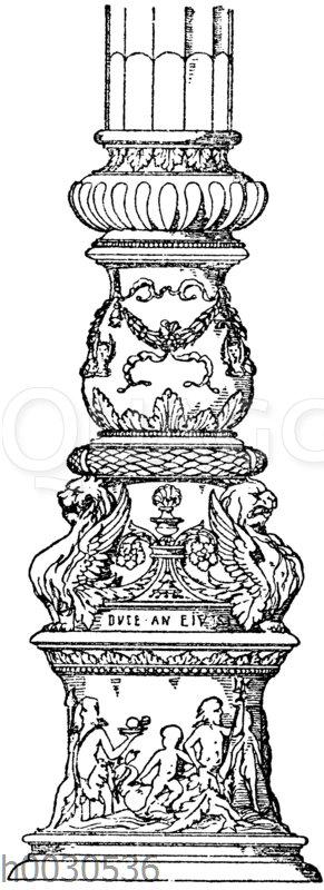 Kandelaberschaft: Schaftverzierung von einem der Mattenträger auf dem Markusplatz in Venedig. Bronze. Ital. Renaissance.