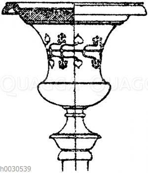 Kandelaberkelch: Kelch antiker Bronzekandelaber im Museum zu Neapel.