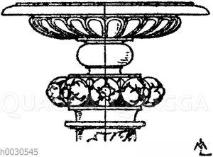 Kandelaberkelch: Ober-Ende eines Renaissancekandelabers. Nach einer Handzeichnung in den Uffizien in Florenz.