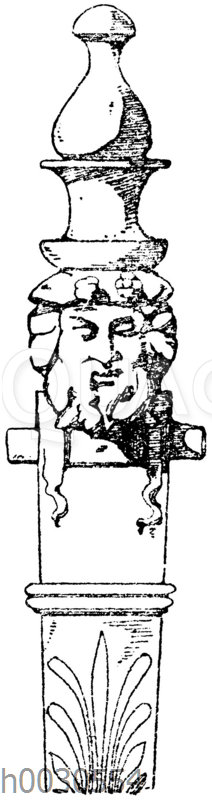 Obere Partie einer antiken Herme. Zum Hildesheimer Silberfund gehörig. Museum in Berlin. Offenbar von einem römischen Dreifuß.