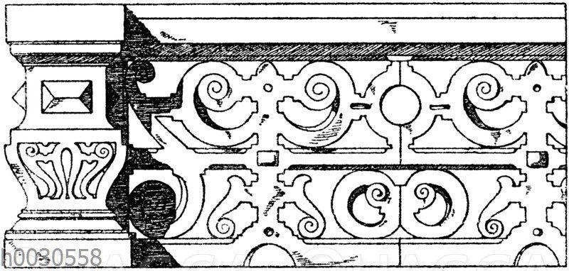 Steinerne Balustrade. Deutsche Renaissance. Vom Dagoberts türmchen des neuen Schlosses in Baden-Baden.