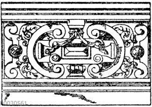 Französische Balustrade. Hotel Mirabaud in Paris. Architekt Magne. (Raguenet). 19. Jahrhundert.