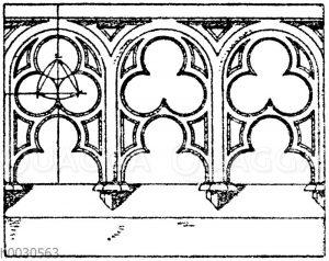 Gotische Balustrade für Stein. Nach Viollet-le-Duc. (Raguenet). 19. Jahrhundert.
