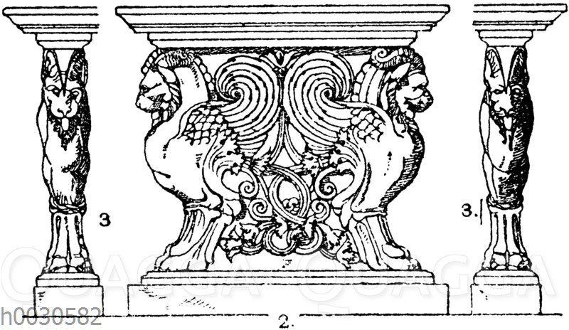 Trapezophoren: Vorderansicht und Seitenansicht eines römischen Tischfußes. Gefunden im Atrium des Hauses des Cornelius Rufus in Pompeji. (Fragments de l'architecture)