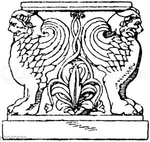 Trapezophor: Vorderansicht eines römischen Tischfußes. Gefunden im Atrium des Hauses des Cornelius Rufus in Pompeji. (Fragments de l'architecture)