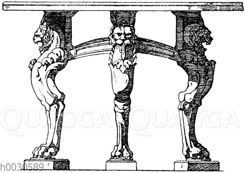Trapezophor: Dreifüßiger Tisch. Römisch. Füße Marmor